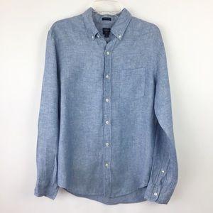 J Crew Factory Slim Fit Linen Button Down M (1838)